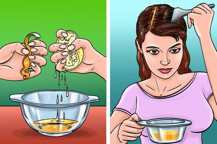 Pelures d'orange au jus de citron pour enlever les pellicules
