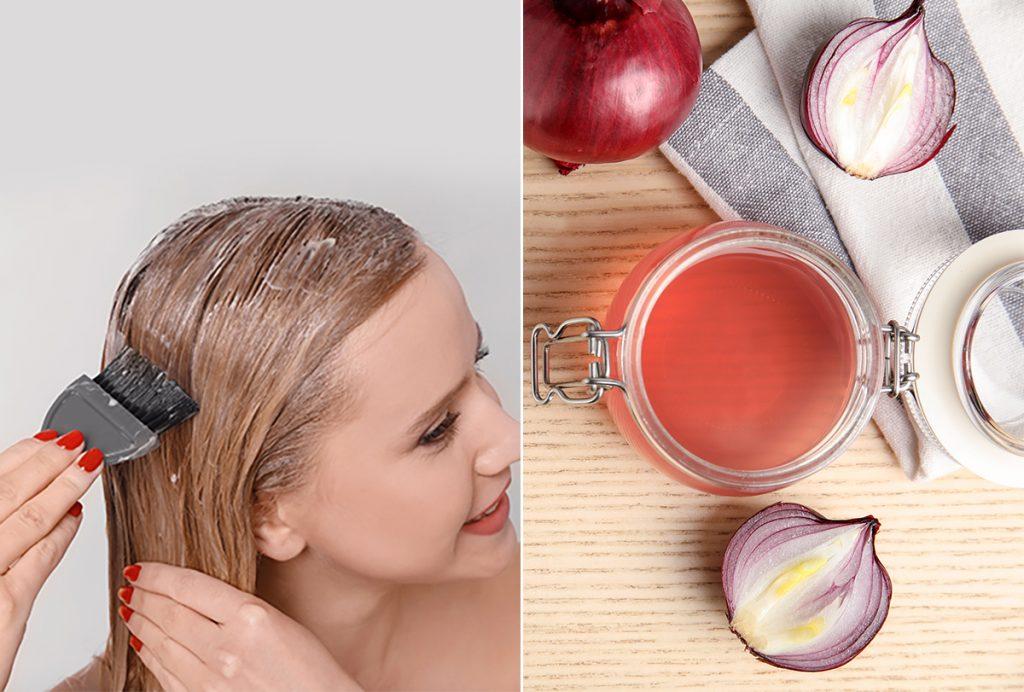 jus d'oignon pour cheveux